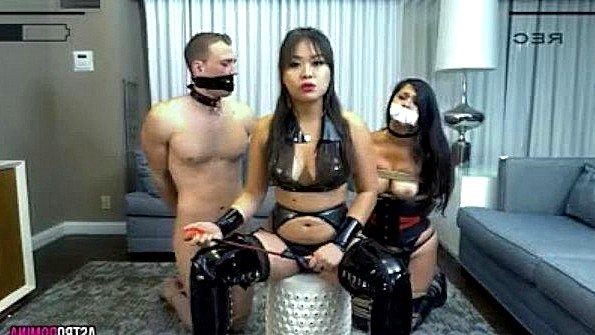 Азиатка дилетантша в верёвках втроем домашнее